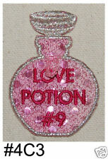 1PC~PINK SEQUIN LOVE POTION #9~IRON ON EMBROIDERY PATCH