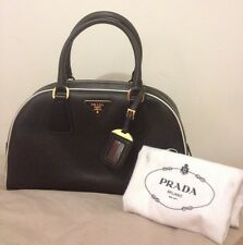 Brand New Prada Saffiano Leather Nero Black & White 2 Tone Handbag Bag >$2k