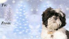 Shih Tzu Dog Christmas Labels Design No. 5 by Starprint