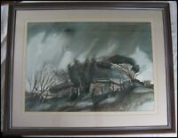 Vintage 1981 Peter Schulz Watercolor Painting Goolwa Australia Old Sheds Signed