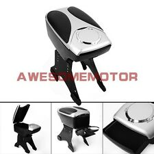 Adjust Chrome Black Leather Front Center Console Armrest Cup Holder Universal AM