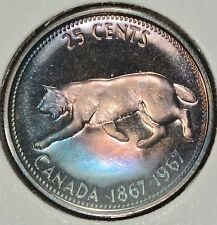 1967 Canadian Silver Commemorative Quarter Rainbow Tone-COLOR Toning BU #2