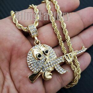 "Iced Hip Hop Gold PT Emoji w/ AK47 Gun Pendant & 24"" Rope Chain Fashion Necklace"
