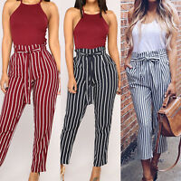 Womens Paperbag Cigaratte Striped Trousers High Waist Lace Up Work Office Pants