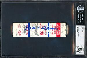 Hank Aaron Authentic Autographed Signed Ticket Atlanta Braves Beckett 12410559