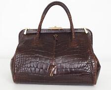 PRADA Dark Brown Glazed Alligator Top-Handle Satchel Doctor Frame Bag Handbag