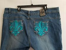Dereon Plus Skinny Blue Jeans Womens Embroidered Rhinestone Zip Pockets Size 24