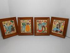 Margo Alexander Sophisticated Provincials 4 Framed Folk ART Prints c.1950's