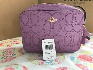 Coach Mini Camera Bag In Signature Leather 2403 IM/Violet Orchid
