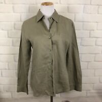 Laura Ashley 8 Linen Khaki Button shirt long sleeve