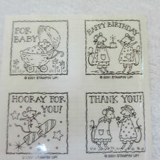 STAMPIN UP Wee Wishes Rubber Stamps UM Mouse Baby Birthday Gift Congratulations