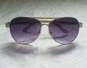 aviator type gold tone rim purple hue sunglasses cream tone arms estate sourced
