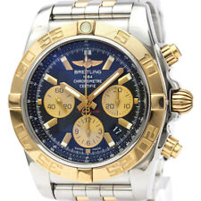 Polished BREITLING Chronomat 44 Chronograph 18K Gold Steel Watch CB0110 BF340196