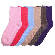 6 pairs Women Super Soft Winter Non-Skid Cozy Fuzzy Solid Slipper Socks 9-11 Lot