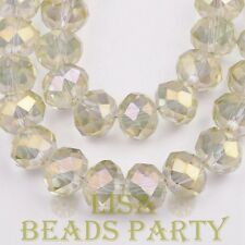 New 30pcs 8X6mm Rondelle Faceted Loose Spacer Glass Beads Bulk Crystal Yellow