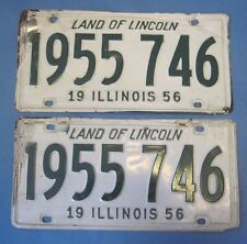 1956 Illinois License Plates matched pair