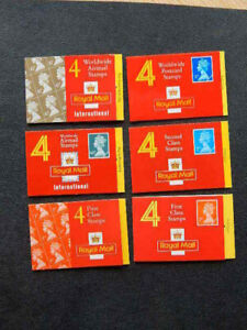 6 GB Royal Mail Booklets with 4 Stamps-First Class, 2nd Class, Airmail, Postcard