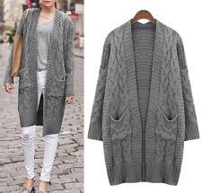 Women Warm Knit Jacket Coat Cardigan Long Sleeve AU Size 18 20 22 24 26 28 #4802