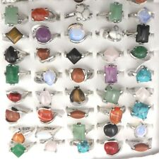 Mixed Lot Women's Gemstone Rings Natural Stone Rings 50pcs Wholesale