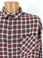 REI Plaid Shirt Men's Large Brick Red Long Sleeve Button Up Cotton Lyocell Blend