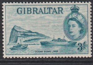 Gibraltar 1958 3d Deep Greenish blue MM SG150a.
