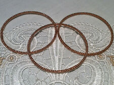 Judith Ripka 14k Rose Gold Clad Silver set of 3 Rope Twist Bangles  Sz. Average