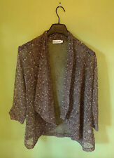 Lulu-b womens Large Open Front Loose Knit Mesh Cardigan Sweater Jacket L Sheer