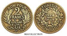 2 Francs 1924 (Paris) TUNISIE/ TUNIS. Colonies Françaises