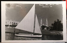 Sailboat, CHAPALA, JALISCO, MEXICO, Photo Post Card FELIZ AÑO NUEVO 1950 CHURCH