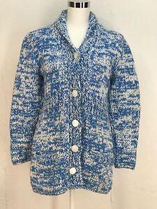 Vtg Coat Jacket Sweater blue white chunky heavy space dye cardigan handmade M