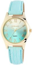 Damenuhr Blau Silber Gold Römische Ziffern Leder Armbanduhr X-193003500426