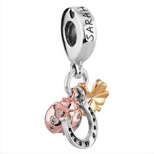 Authentic Pandora Charm Bracelet Silver Bangle Horseshoe & Ladybug Charms
