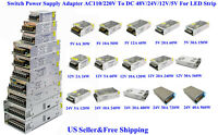 US AC110/220V To DC 12V/24V/5V Switch Power Supply Adapter For LED Strip 3D