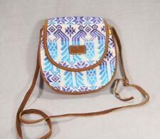 Guatemala Multi-Color Plaid Fabric/Genuine Leather Crossbody Bag/Purse/Tote  ANB