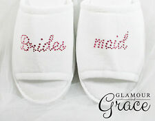 BRIDESMAID Slippers Bride Bridal Wedding Personalised Customised Pink Hens