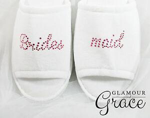 BRIDESMAID Slippers Bride Bridal Wedding Personalised Customised Pink Hens