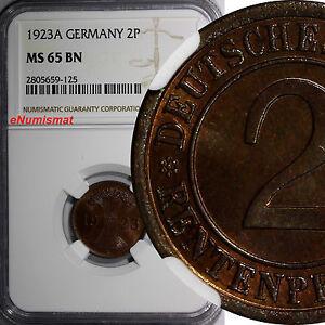 GERMANY, Weimar 1923-A 2 Rentenpfennig NGC MS65 BN TOP GRADED KM# 31 (125)