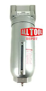 "1"" Inline Air Compressor Water Moisture Filter Trap Separator w/ Manual Drain"