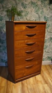 VINTAGE TEAK CHEST OF DRAWERS TALL BOY,G PLAN DANISH MIDCENTURY RETRO p&p