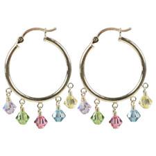 Sterling Silver Hoop Earrings made with Swarovski Crystal Elements Multi-Color