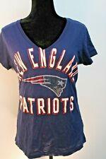 New England Patriots NFL Women's Top T-Shirt Short Sleeve Bejeweled V-Neck Large