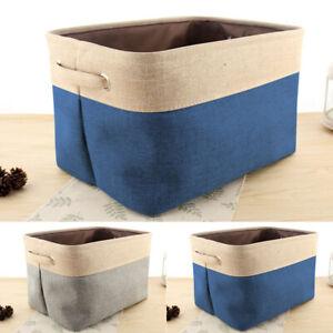 Folding Linen Fabric Storage Basket Collapsible Organizer Container Box Storage