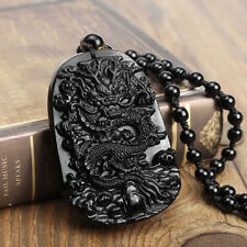 New Chinese 100% Natural Obsidian Crystal Carving Dragon Lucky Pendant Necklace
