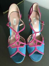 Woman's PRADA  sandals heels leather   blue and pink 40/10