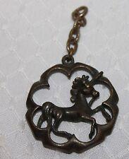 Unique Antique Vintage Unicorn Horse Bronze Pendant