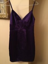 Ladies Purple Ted Baker 100% Silk  Short Dress With Spaghetti Straps Size 1