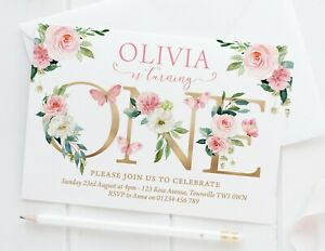 10 PERSONALISED GIRLS FIRST BIRTHDAY INVITATIONS - PRETTY PINK FLORAL BUTTERFLY