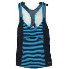 Nike Tankini Racerback Bathing Suit Top Black Blue Padded Bra NWT Swimwear Sz M
