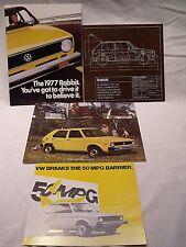 4 Original 1977 VW VOLKSWAGEN RABBIT GAS & DIESEL Sales Catalogs & Brochures