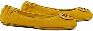 Tory Burch Women's Yellow Suede Minnie Travel Ballet Shoes Flats